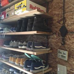 くつ収納DIY/osb合板の壁/OSB合板/靴収納DIY/靴収納/くつ収納/... くつ収納のイベントに連ボツ参加ですいませ…