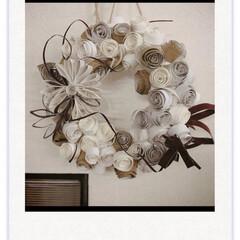 トイレットペーパーの芯アート/トイレットペーパーの芯/壁飾り/クリスマスリース/クリスマス/ハンドメイド/... クリスマスリース!  トイレットペーパー…