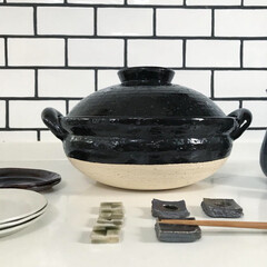 長谷園 ヘルシー 蒸し 鍋 中(2-4)人用 黒 ZW-22(その他キッチン、日用品、文具)を使ったクチコミ「✳︎ 伊賀焼の陶器市へ行ってきました。 …」