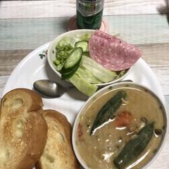 グリーンカレー/リミアの冬暮らし 夕飯はグリーンカレー❤️ 今日は息子は泊…
