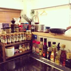 カフェ風/キッチン/スパイス/オイル/スパイス棚/カウンターキッチン 自家製ドレッシングを作りにハマり、スパイ…