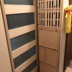 カラーボックス/下駄箱/ハンドメイド/DIY/家具/住まい/... カラーBoxにパタパタ扉を付けて、下駄箱…