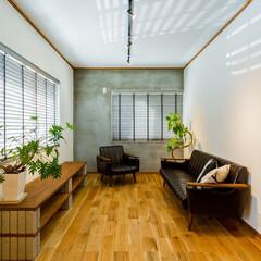 リビング/リノベーション/インテリア/フローリング/男前インテリア/ソファ/... 施工事例より。奥の壁だけをグレーで塗装し…