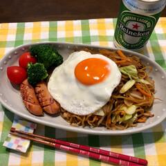 日川白鳳/富士宮焼きそば/フード/おうちごはん/ペット 今日の夕ご飯 mitoさん の お昼ごは…