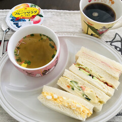 サンドイッチ/おうち/ごはん/おうちごはん/フード 今日の お昼ごはんは サンドイッチ🥪