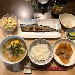 さんま/夕ごはん 今日の夕ごはん 秋刀魚の塩焼き 大根と鶏…