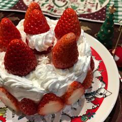 いちごは、章姫/手作り/Christmasケーキ/フード 一日遅れて 娘が、ケーキを 作ったよ〜〜…
