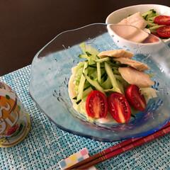 ステッカー/チスパム/フード/おうちごはん 今日の お昼ごはん サラダうどん☆塩レモ…