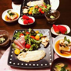 今日の晩御飯/フード 今日の晩御飯 揚げ出し豆腐 サラダ もず…