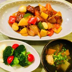 フード 今日の夕ご飯は 酢豚ですよ🐷 (ㆀ˘・з…(1枚目)