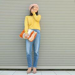 ユニクロ/きれい色/ニット/デニム/秋コーデ/ベレー帽/... HAPPYカラー  秋には秋のカラーがあ…