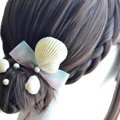 ハンドメイド/夏/人魚/アクセサリー/ヘアアクセサリー/ヘッドドレス/... 本物の貝殻を使って、髪飾りを作りました^…