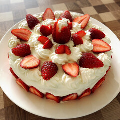 旦那のbirthdayeve/生クリームたっぷり/手作りケーキ ケーキ🎂完成...♪*゚ 明日旦那っちの…