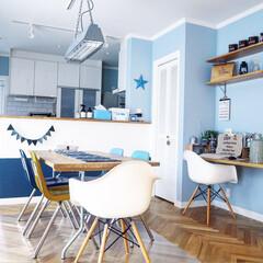 パソコンデスク/ハモサ/ダイニングテーブル/ダイニング/ヘリンボーン/virco/... DIYしてペンキを塗り替えたキッチンカウ…