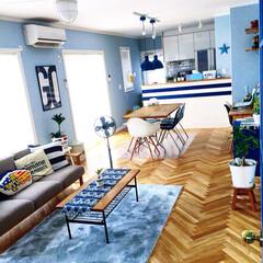 ペイントクロス/観葉植物/クッション/IKEA/扇風機/ソファ/... 家の中で一番好きなリビングダイニングのア…