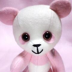 base/癒やし/パンダ/ぬい撮り/ぬいぐるみ/手芸/... ピンクはピンクでかわいい。