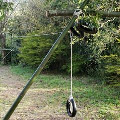 アスレチック/ロープ/竹/DIY/ハンドメイド/暮らし 20M位のターザンロープ。かなりのスピー…