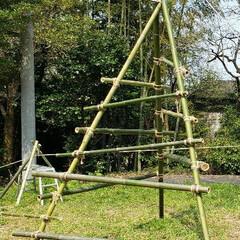 コロナ/アスレチック/ロープ/竹/DIY/ハンドメイド 続けて竹とロープのアスレチック投稿。 娘…