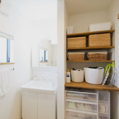 家事スペース 少し高めの900mmで作られた棚。ここで…