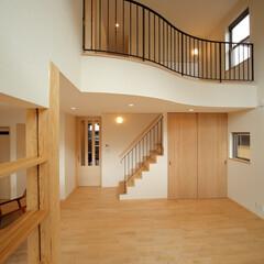吹抜/リビング/リビング階段/アイアン手摺/新築/池田デザイン室 新築オープンテラスの家 吹抜けのあるリビ…
