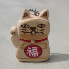 招き猫/キーホルダー/ハンドメイド 不気味に招くネコ(=^・^=)