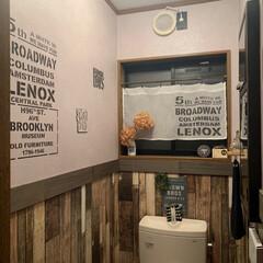 ステンシル/トイレ/リミアの冬暮らし/セリア/100均/DIY/... トイレ…木板から上の壁をコンクリート柄に…