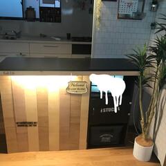 バーカウンター/キッチンカウンター/合板/カラーボックス/DIY/インテリア/... キッチンにバーみたいなカウンターを作りま…