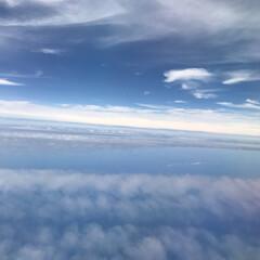 癒し/飛行機/空/雲 綺麗な空  雲の上にいる時間 昔、 雲に…