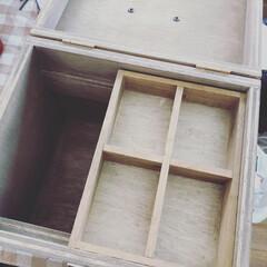 ワトコオイル ダークウォルナット W-13 200ml(ニス、ステイン)を使ったクチコミ「お薬箱つくりました!中の小さい箱はセリア…」(2枚目)