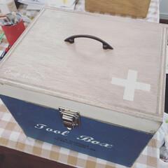 ワトコオイル ダークウォルナット W-13 200ml(ニス、ステイン)を使ったクチコミ「お薬箱つくりました!中の小さい箱はセリア…」(1枚目)