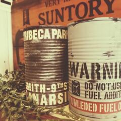 ヴィンテージ/リメイク/セリア リメイク缶➕セリアステッカー 背後のサン…
