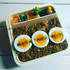 甘いカレー/ゆで卵/デリ風/カレー/お弁当/弁当/... ドライカレー丼弁当❤️ 甘いカレーが好き…