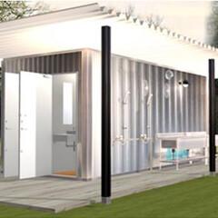 コンテナハウス/2040jp/建築確認対応コンテナ/イメージパース/シャワー室とトイレと洗面を備えた/キャンプ場/... シャワー室とトイレと洗面を備えたコンテナ…