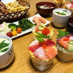 ひな祭り/カップ寿司/ちらし寿司/寿司/フード/グルメ/... ひな祭りメニュー🌸 カップ寿司作ってみま…