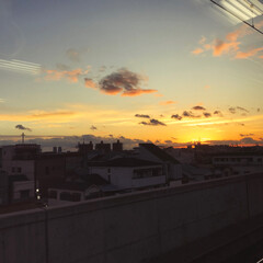 空/カコソラ/夕焼け/夕日/車窓から