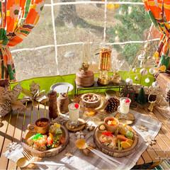 ワンプレートごはん/キャンプ/キャンプ飯/リミアの冬暮らし/我が家のテーブル/リミアな暮らし/... キャンプ🏕ランチ⛺️  𓐐 海老ピラフ …