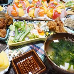 パーティー/夕飯/リース寿司/お寿司/誕生日/誕生日会/...  ᴳᴼᴼᴰ ᴱᵛᴱᴺᴵᴺᴳ.*·̩͙.。…(7枚目)