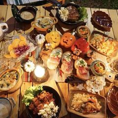 ハロウィン料理/キャンプ料理/外ごはん/キャンプ飯/camp/ハロウィンキャンプ/... キャンプに行ってきました---*。.(♥…