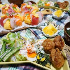 パーティー/夕飯/リース寿司/お寿司/誕生日/誕生日会/...  ᴳᴼᴼᴰ ᴱᵛᴱᴺᴵᴺᴳ.*·̩͙.。…(5枚目)