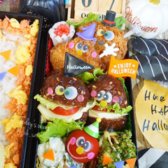 ハロウィン/旦那弁当/デコ弁/ご飯/朱色/お弁当/...  ◌⑅⃝●♡⋆ᵍᵒᵒᵈ ᵐᵒʳᐢⁱᐢᵍ …(4枚目)