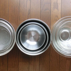 キッチン道具/ニトリ/パイレックス/丸い道具/ザル/ガラス/... 3重〇3つ…左からニトリ→ニトリ→パイレ…