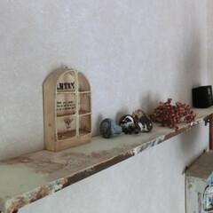 ⅮIY/壁インテリア/飾り棚/汚しペイント 天井近くに飾り棚をDIY・・・リアルに汚…