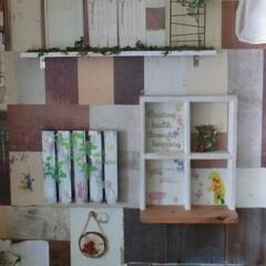 フェイクグリーン/セリア/壁紙DIY/ウォールステッカー/壁インテリア/ダイソー/... 壁紙サンプルセットを切り貼りし・ランダム…