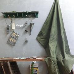 壁インテリア/セリア/100均/グリーンのある暮らし/布/棚/... 作業部屋の一角…ウォールラック+ファブリ…
