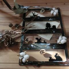 クリスマス/100均リメイク/影絵風/ドライパーツ/木の実 クリスマスカード用にちょっぴり、スタイリ…
