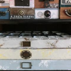セリア/ⅮIY/リメイク/ペイント/小物収納 イロイロ収納BOXを好きな色で、汚しペイ…