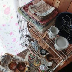 カフェ風インテリア/セリア/錆びモノ/リサイクル/アンバーグラス/カフェグッズ 縫い目ガタガタなハンドメイドカフェマット…