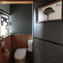 トイレ/トイレリノベーション/壁紙屋本舗/壁紙/ⅮIY/トイレインテリア 1階おトイレOPEN♪  思った以上に余…