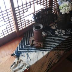 """藍染め/和なファブリック/夏インテリア/涼を感じる 我が家は、基本 """"和なお家""""なので、夏に…"""