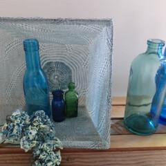 涼夏/ブルー/夏インテリア/収納カゴ/ドライフラワー/空き瓶 『瞳から涼を…』  メッシュ収納カゴの中…